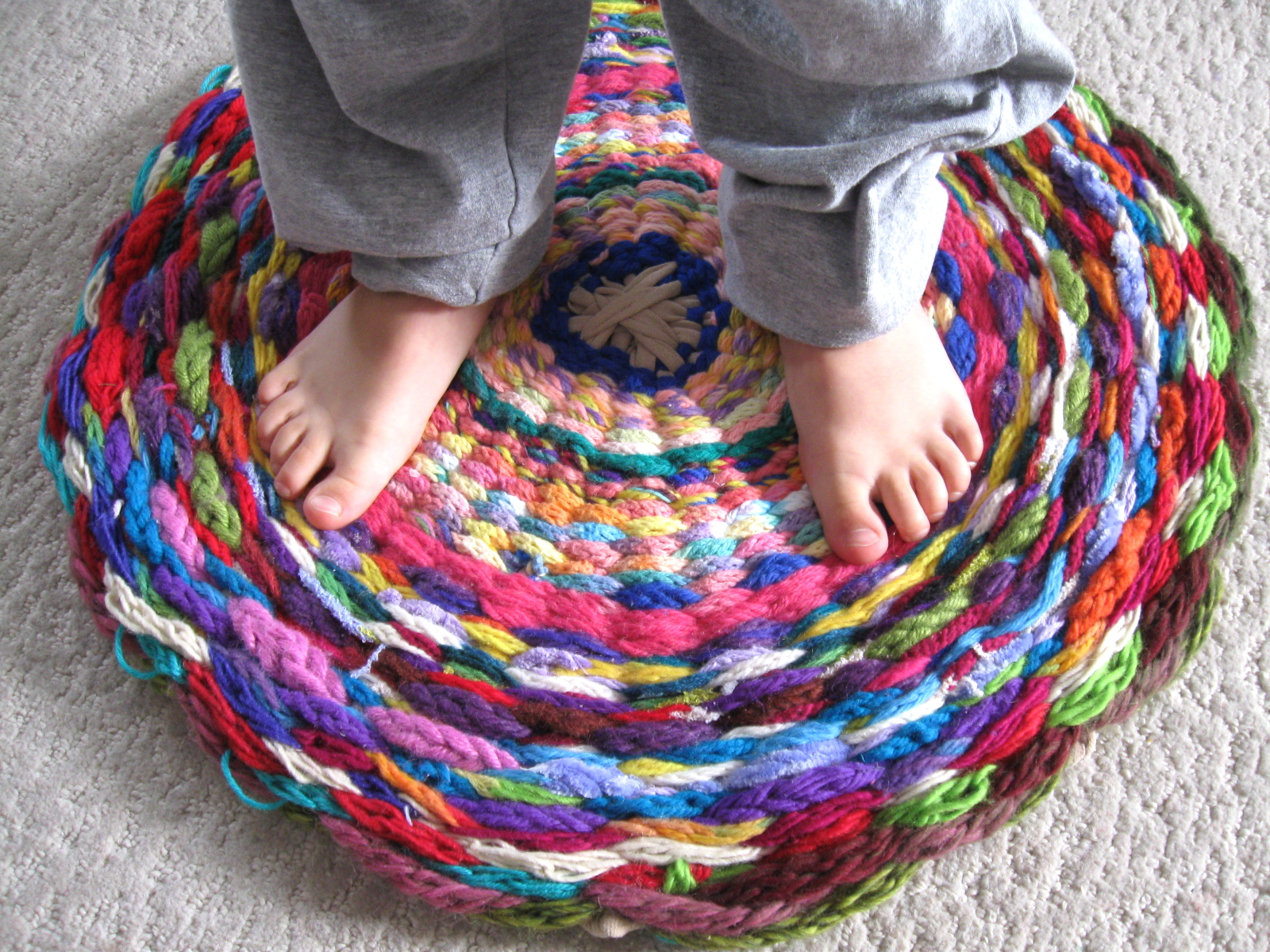 Woven Rug Or What To Do With All That Finger Knitting